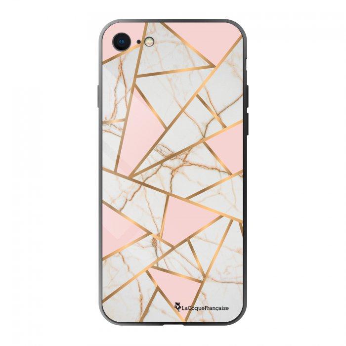 Coque en verre trempé iPhone 7/8/ iPhone SE 2020 Marbre Rose Ecriture Tendance et Design La Coque Francaise. - Coquediscount