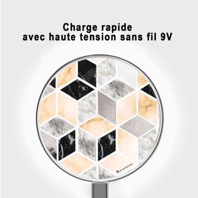 Chargeur sans fil à induction blanc Carrés marbre, La Coque Francaise®