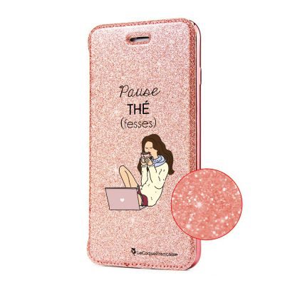Etui Paillette iPhone 6/6S paillettes rose gold, Pause thé (fesses), La Coque Francaise®