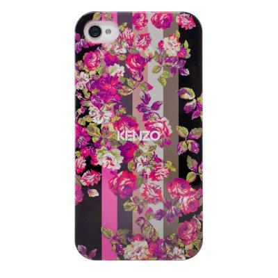 Kenzo coque Kila noire à motif fleuri rose pour iPhone 4 / 4S