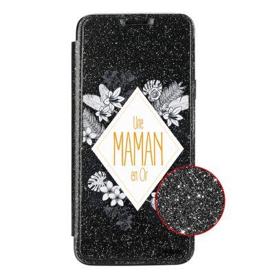 Etui Paillette Samsung Galaxy S9 paillettes noir, Une Maman en or, Evetane®