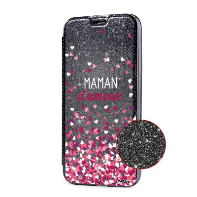 Etui Paillette iPhone 7/8 paillettes rose gold, Maman damour, Evetane®
