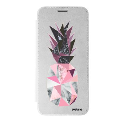 Etui iPhone X/ Xs argent Ananas geometrique marbre Ecriture Tendance et Design Evetane