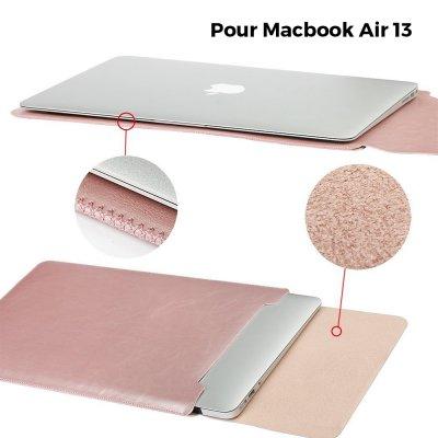 Pochette façon cuir Rose Gold pour Macbook Air 13