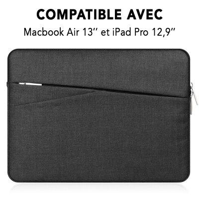 Pochette de protection noire pour Macbook Air 13 et iPad Pro 12,9.