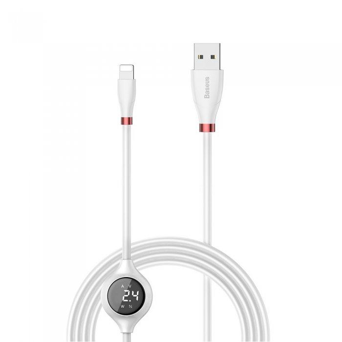 Câble Lightning Baseus Blanc avec affichage digital d'ampérage,voltage,statut de la charge