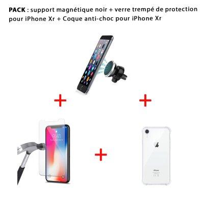Pack iPhone Xr : Coque anti-choc transparente , vitre de protection et support magnétique noir