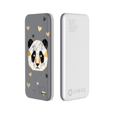 Batterie Batterie Grise 10 000mAh gris Panda Géométrique Motif Ecriture Tendance Evetane