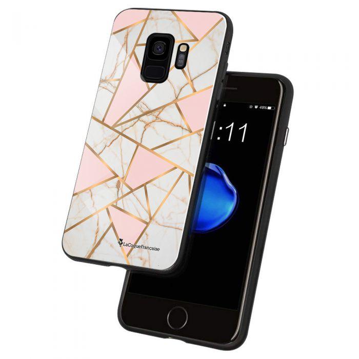 Coque en verre trempé Samsung Galaxy S9 Marbre Rose Ecriture Tendance et Design La Coque Francaise. - Coquediscount