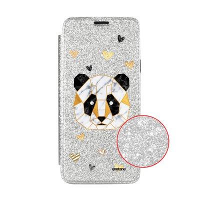 Etui Paillette Samsung Galaxy S9 Plus paillettes, Panda Géométrique