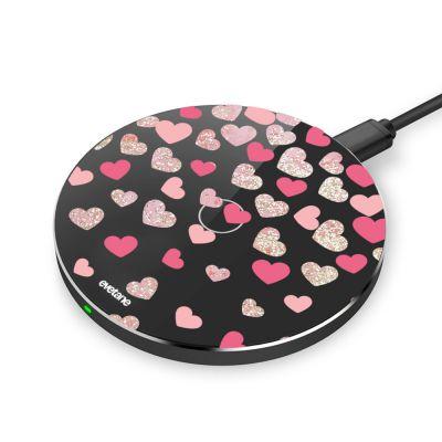 Chargeur sans fil à induction noir Coeurs en confettis