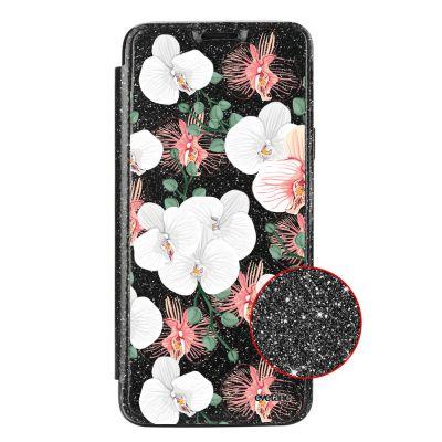 Etui Paillette Samsung Galaxy S9 paillettes noir, Orchidées