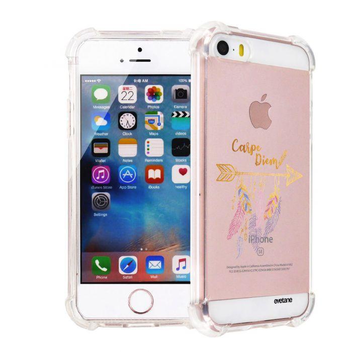 Coque iPhone 5/5S/SE anti-choc souple angles renforcés transparente Carpe Diem Or Evetane. - Coquediscount