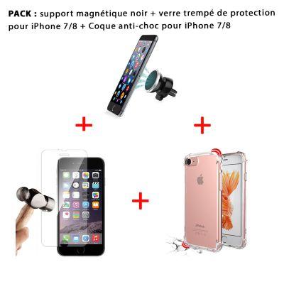 Pack iPhone 7/8 : Coque anti-choc transparente , vitre de protection et support magnétique noir