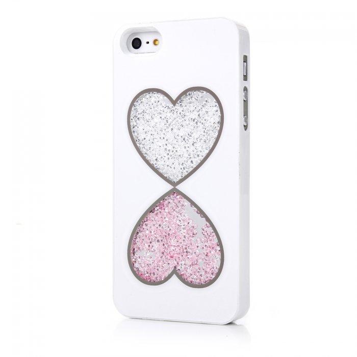 Coque blanche coeurs cristaux pour iPhone 5 / 5S