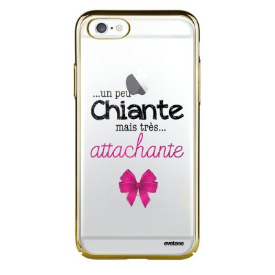 Coque iPhone 6 Plus / 6S Plus bumper or Un peu chiante tres attachante Ecriture Tendance et Design Evetane