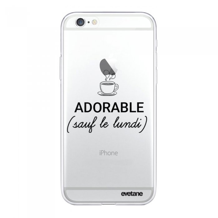 coque iphone 6 iphone 6s rigide transparente adorable sauf le lundi evetane