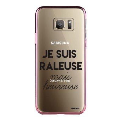 Coque Samsung Galaxy S7 Edge bumper rose gold Raleuse Mais Heureuse Ecriture Tendance et Design Evetane