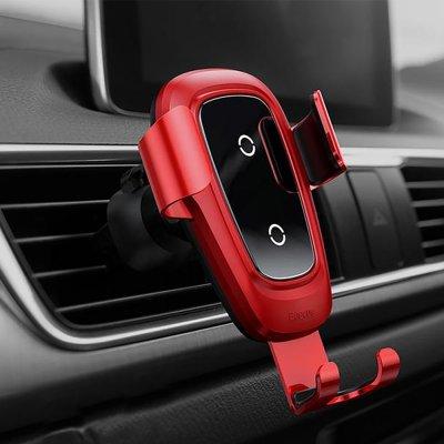 Support de voiture avec fonction de charge sans fil - rouge