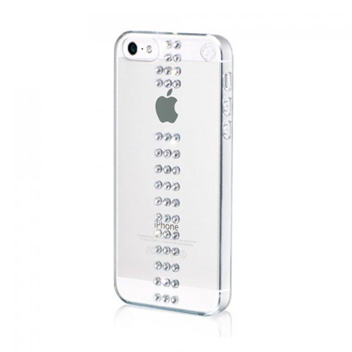 bling my thing coque avec cristaux swarovski stripe argente pour iphone 5 5s