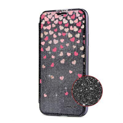 Etui Paillette Compatible avec iPhone X paillettes noir, Coeurs en confettis Ecriture Tendance et Design
