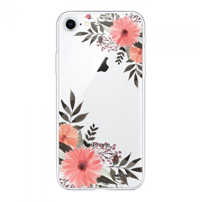coque compatible avec iphone 7 iphone 8 souple transparente fleurs roses ecriture tendance et design