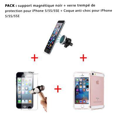 Pack iPhone 5/5S/SE : Coque anti-choc transparente , vitre de protection et support magnétique noir