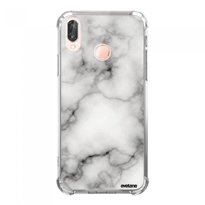 Coque Huawei P20 Lite anti-choc souple angles renforcés transparente Marbre blanc Evetane. - Coquediscount