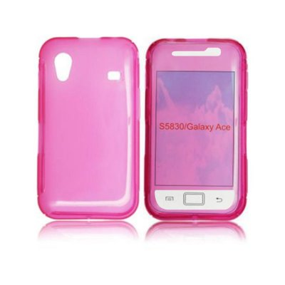 Etui pouch silicone rose avec ouverture Samsung galaxy Ace 5830