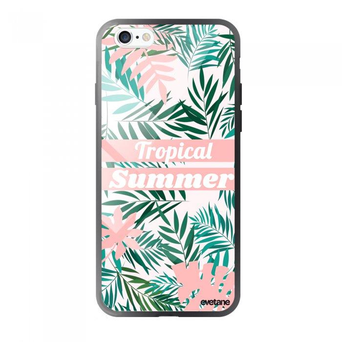 coque en verre trempe iphone 6 6s tropical summer pastel ecriture tendance et design evetane