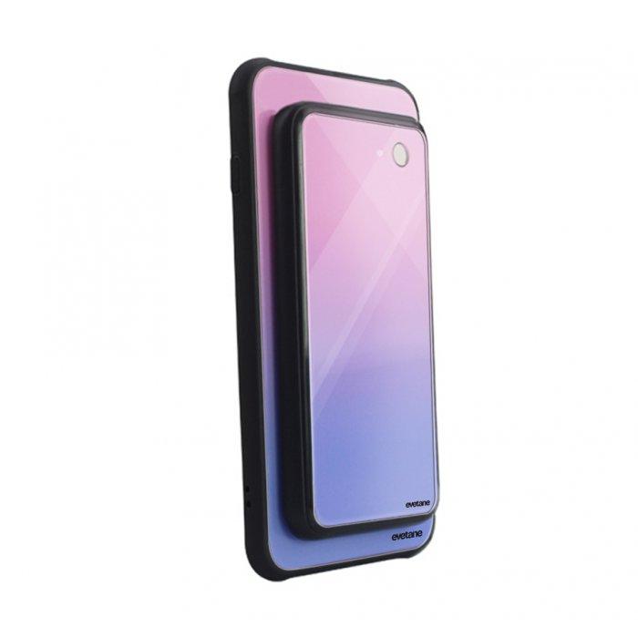 Coque pour Samsung Galaxy S8 en verre trempé avec batterie 5000 mAh aimantée à induction dégradé rose violet