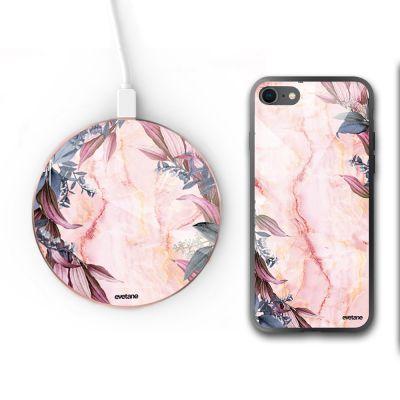 Pack : coque iPhone 8 et chargeur induction en verre trempé -Marbre Fleurs