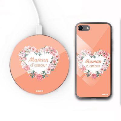 Pack : coque iPhone 8 et chargeur induction en verre trempé -Cœur Maman D'amour