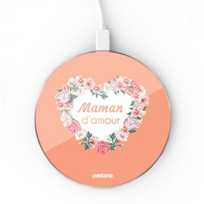 Chargeur Induction Coeur Maman D'amour Ecriture Tendance et Design Evetane