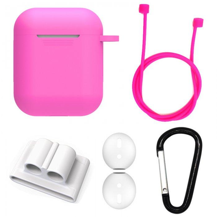 Etui silicone de protection pour Airpods Rose Fluo