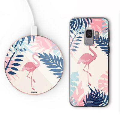 Pack S9 : coque + support à induction Flamant Tropical