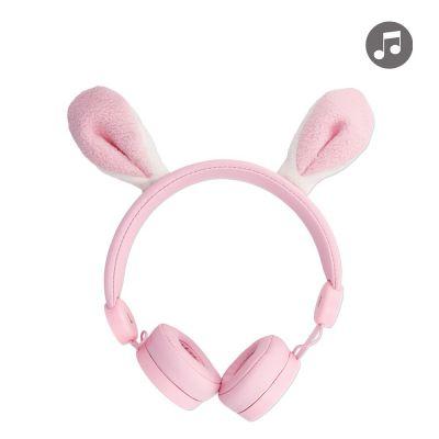 Casque filaire pour enfant en forme de lapin -rose