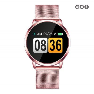 Montre connectée avec suivi d'activités compatible iOs et Android - avec bracelet en metal Rose Gold