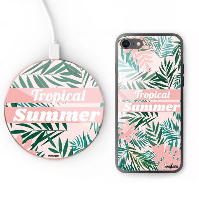 Pack iPhone 8 : Coque + support à induction Tropical Summer Pastel