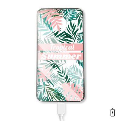 Batterie Batterie verre trempé 10000mAh Tropical Summer Pastel Motif Ecriture Tendance Evetane