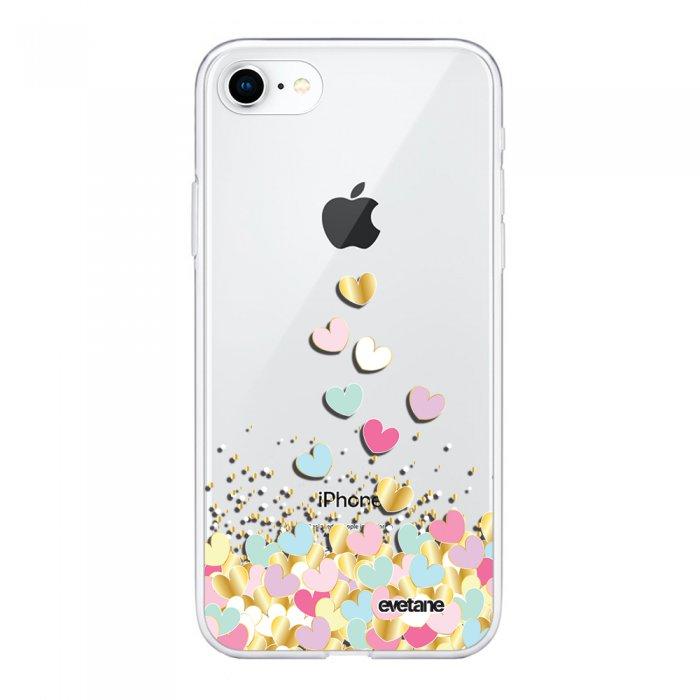 coque souple iphone 7 iphone 8 souple transparente coeurs pastels motif ecriture tendance evetane