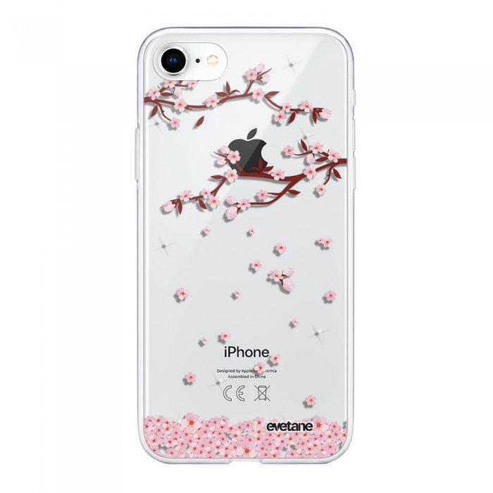coque souple iphone 7 iphone 8 souple transparente chute de fleurs motif ecriture tendance evetane