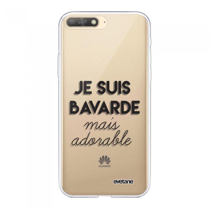 Coque Huawei Y6 2018 souple transparente Bavarde Mais Adorable Motif Ecriture Tendance Evetane - Coquediscount