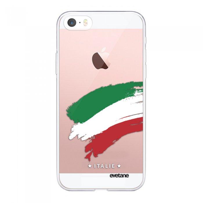 coque souple iphone 5 5s se souple transparente italie motif ecriture tendance evetane
