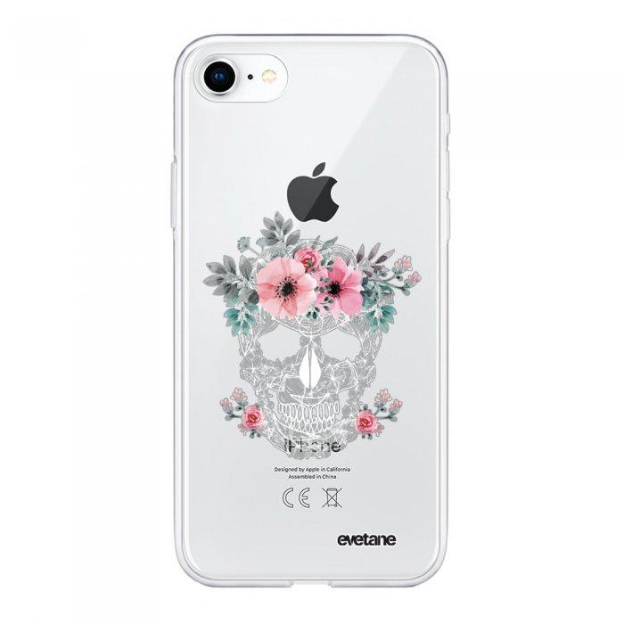coque souple iphone 7 iphone 8 souple transparente crane motif ecriture tendance evetane