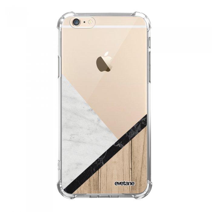 coque iphone 6 iphone 6s anti choc souple avec angles renforces transparente marbre et bois graphique tendance evetane