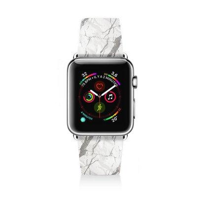 Bracelet Apple Watch en cuir 42-44mm Marbre gris La Coque Francaise