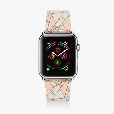 Bracelet Apple Watch en cuir 38-40mm Marbre Rose La Coque Francaise
