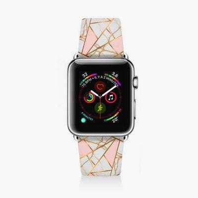 Bracelet Apple Watch en cuir 38-40mm Marbre Rose La Coque Francaise