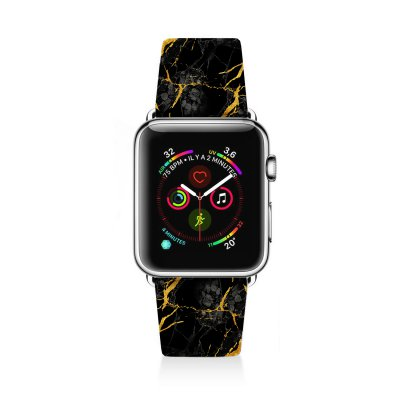 Bracelet Apple Watch en cuir 38-40mm Marbre noir La Coque Francaise